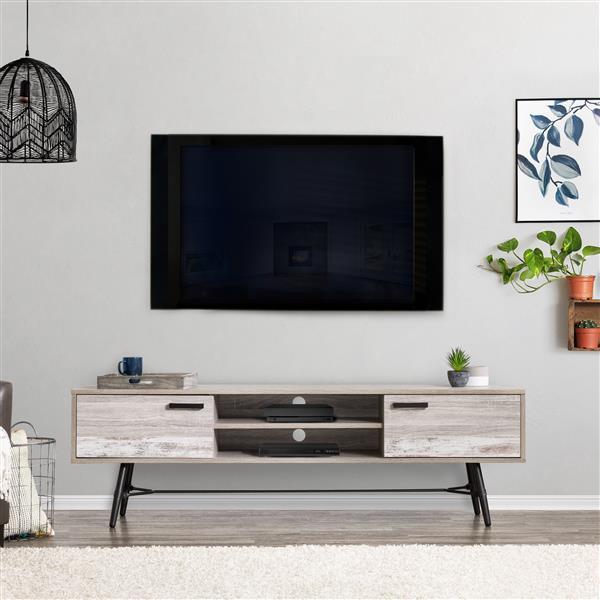 """Meuble télé pour les téléviseurs jusqu'à 80"""", gris et blanc"""