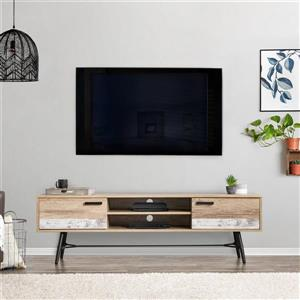 CorLiving TV Stand - Warm Beige with White - TVs up to 80""