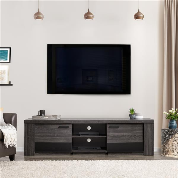 """CorLiving TV Stand - Carbon Grey with Black - TVs up to 80"""""""