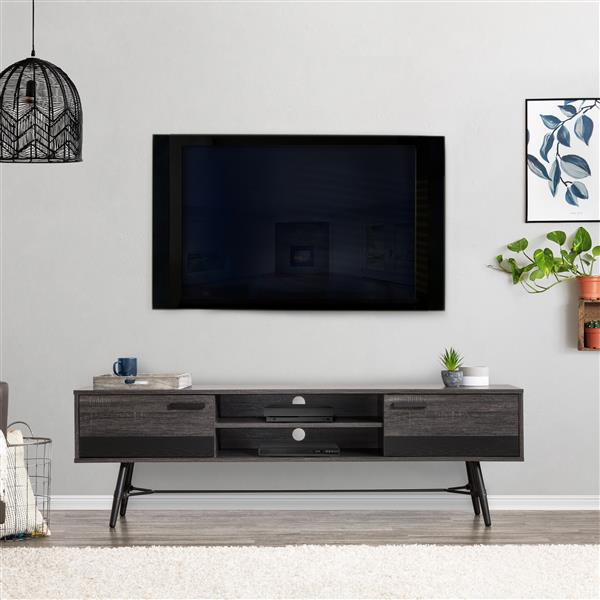 """CorLiving TV Stand - Grey with Black - TVs up to 80"""""""