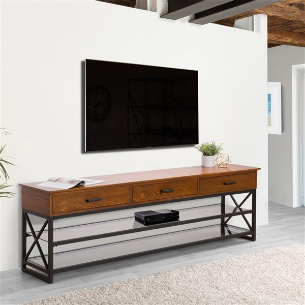 CorLiving TV Stand - Antique Cherry Brown - TVs up to 90""