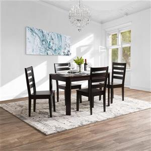 CorLiving 5pc Solid Hardwood Dining Set, Mahogany