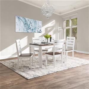 Ensemble table et chaises salle à manger, blanc et brun