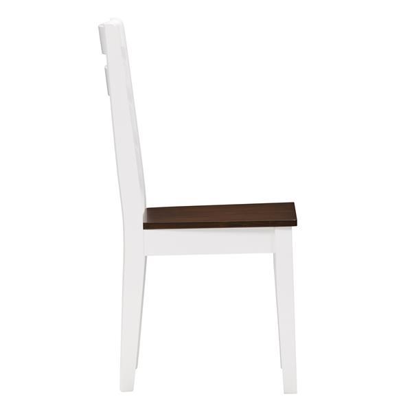 CorLiving Hardwood Dining Chairs, White/Brown, Set of 2