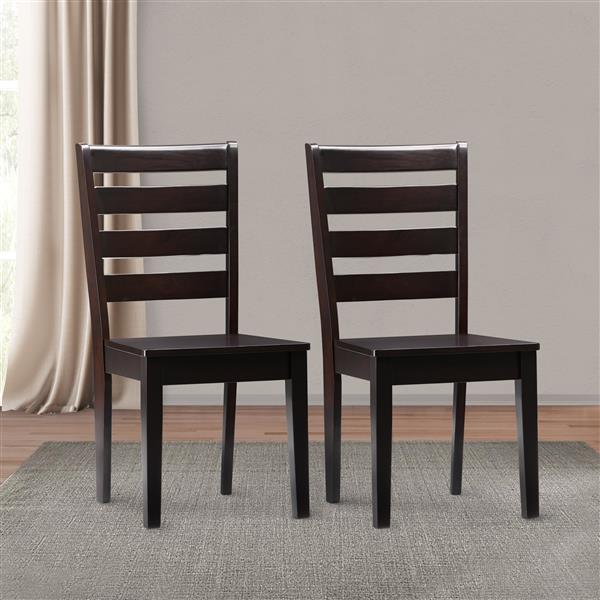 CorLiving Mahogany Hardwood Dining Chairs, Set of 2