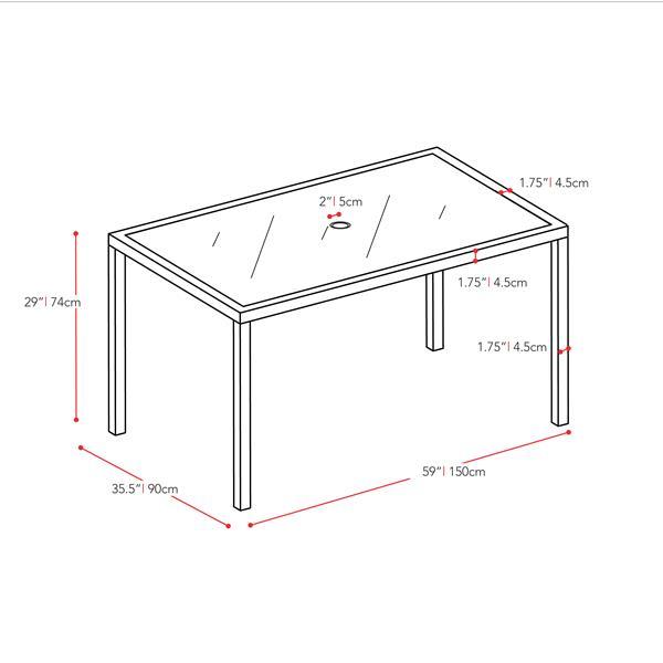 """Table à dîner pour le patio,  noire anthracite, 36"""" x 59"""""""