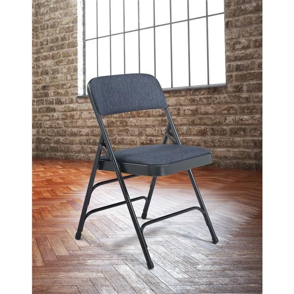 National Public Seating Fabric Padded Folding Chair - 2300 Series - Blue - 4-Pack