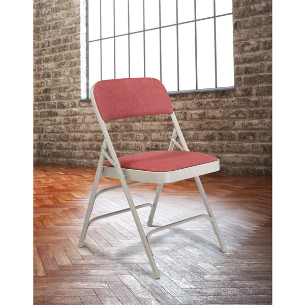 National Public Seating Fabric Padded Folding Chair - 2300 Series - Wine - 4-Pack