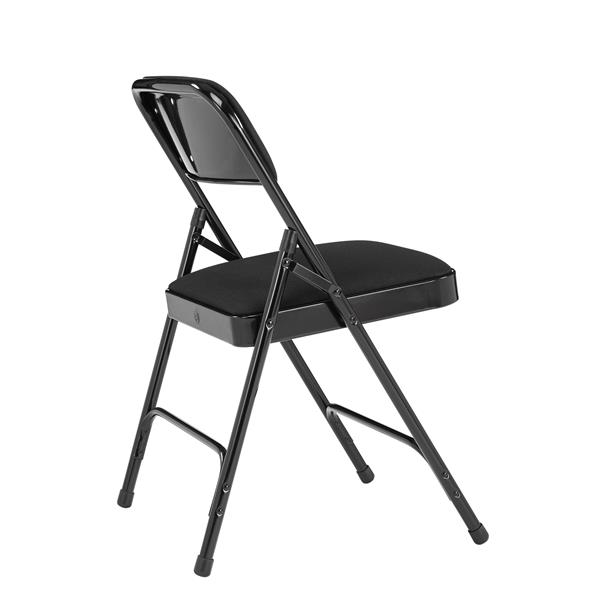 National Public Seating Fabric Padded Folding Chair - 2200 Series - Black - 4-Pack