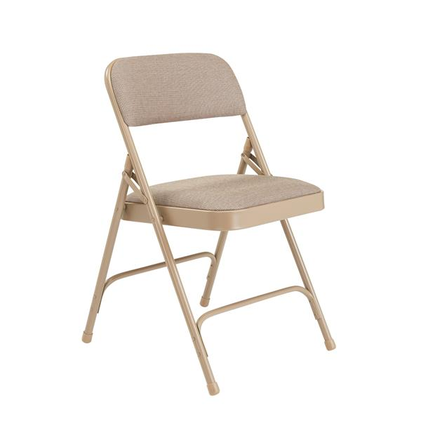 National Public Seating Fabric Padded Folding Chair - 2200 Series - Beige - 4-Pack