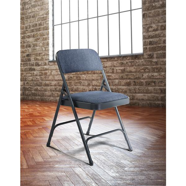 National Public Seating Fabric Padded Folding Chair - 2200 Series - Blue - 4-Pack