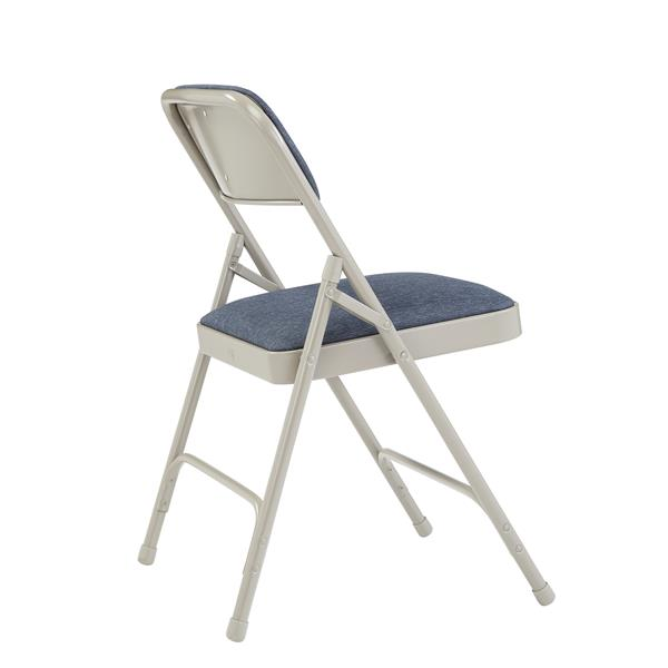 National Public Seating Fabric Padded Folding Chair- 2200 Series- Blue/Grey - 4-Pack