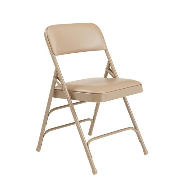National Public Seating 1300 Series Vinyl Padded Folding Chair - Beige - 4-Pack