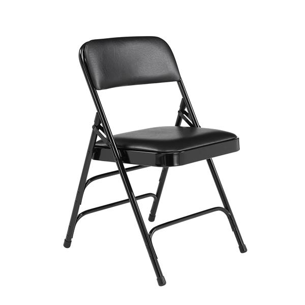 National Public Seating 1300 Series Vinyl Padded Folding Chair - Black - 4-Pack