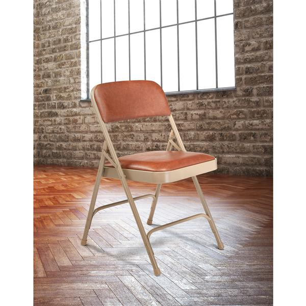 National Public Seating 1200 Series Vinyl Padded Folding Chair - Brown - 4-Pack