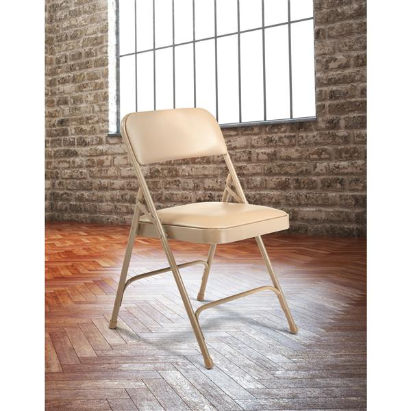 National Public Seating 1200 Series Vinyl Padded Folding Chair - Grey - 4-Pack