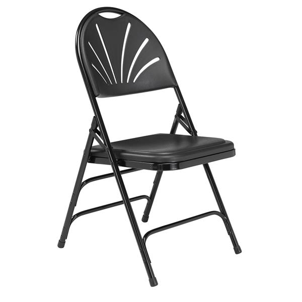 National Public Seating 1100 Series Fan Back Folding Chair - Black - 4-Pack