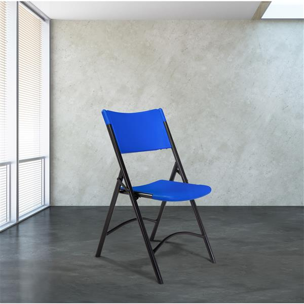 National Public Seating 600 Series Heavy Duty Folding Chair - Blue - 4-Pack