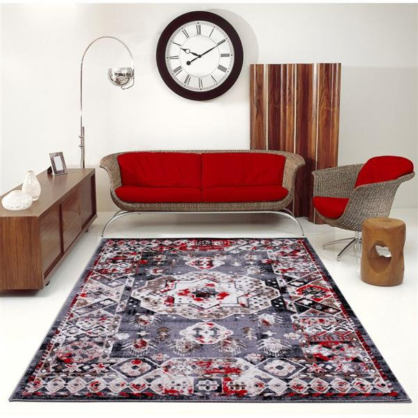La Dole Rugs®  Athens Traditional Geometric Area Rug - 4' x 6' - Red/Grey