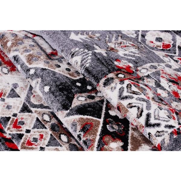 La Dole Rugs®  Athens Traditional Geometric Area Rug - 7' x 10' - Red/Grey