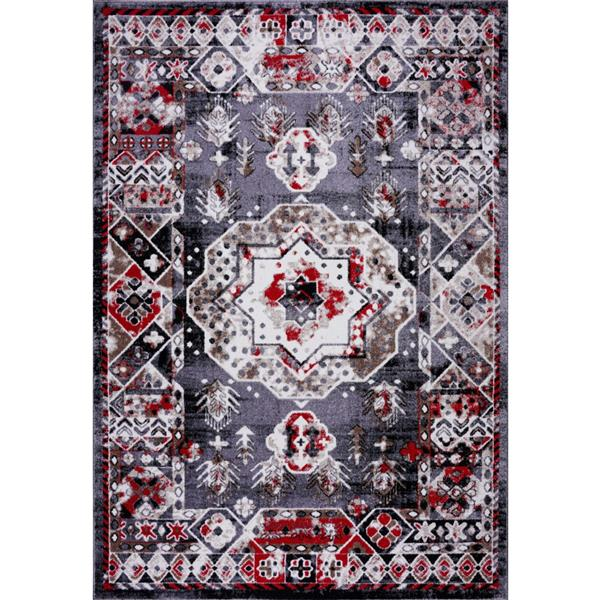 La Dole Rugs®  Athens Traditional Geometric Area Rug - 8' x 11' - Red/Grey