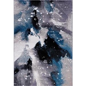 Tapis «Ardene» abstrait, 4' x 6', gris/turquoise