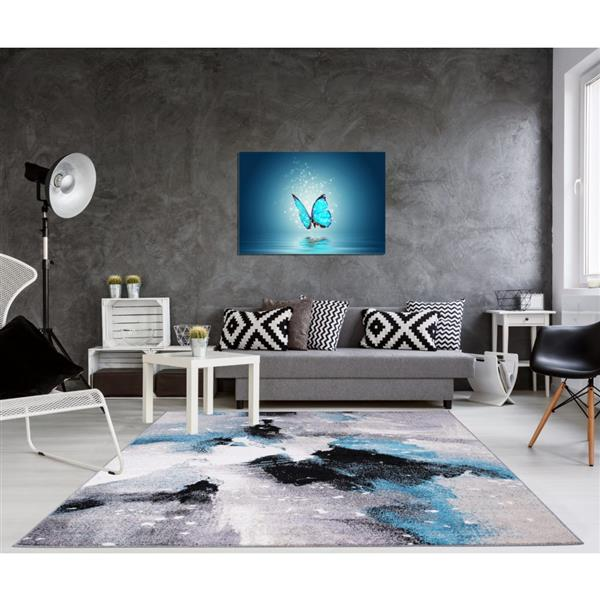 La Dole Rugs®  Ardene Abstract Pattern Area Rug - 5' x 8' - Grey/Turquoise