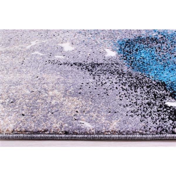 Tapis «Ardene» abstrait, 5' x 8', gris/turquoise