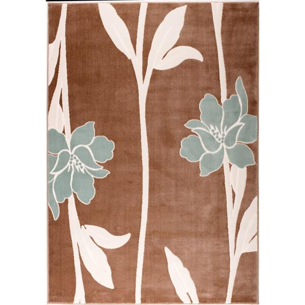 La Dole Rugs®  Floral Pattern Rectangular Area Rug - 7' x 10' - Brown