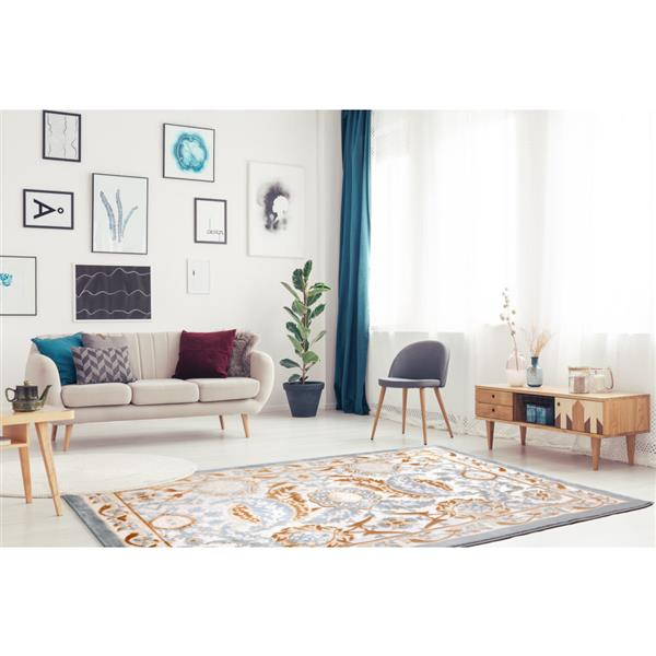 La Dole Rugs® Rectangular Abstract Traditional Area Rug - 5' x 8' - Beige