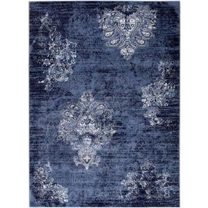 Tapis traditionnelle Anatolie, 9' x 12', marine/ivoire