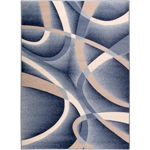 Tapis abstrait géométrique Anatolie, 7' x 9' , tapis/bleu