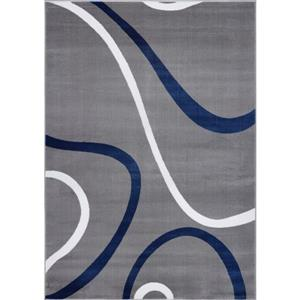 Tapis turque spirale rectangulaire, 5' x 8', bleu/gris