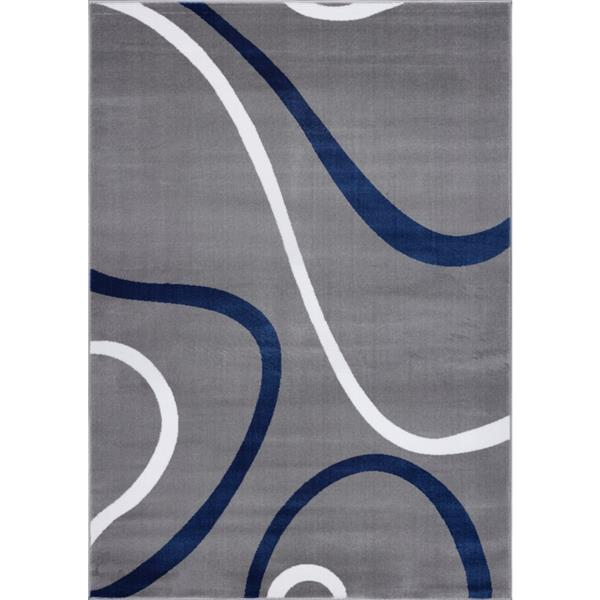 La Dole Rugs® Turkish Spiral Small Rectangular Rug - 3' x 5' - Grey/Blue