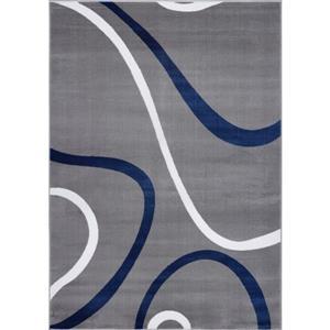 Tapis turque spirale rectangulaire, 3' x 10', bleu/gris