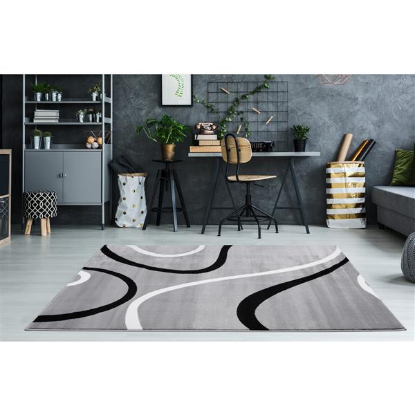 La Dole Rugs® Turkish Rectangular Area Rug  - 4' x 6' - Light Grey