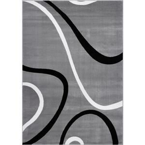 Tapis turque spirale rectangulaire, 3' x 10', gris clair