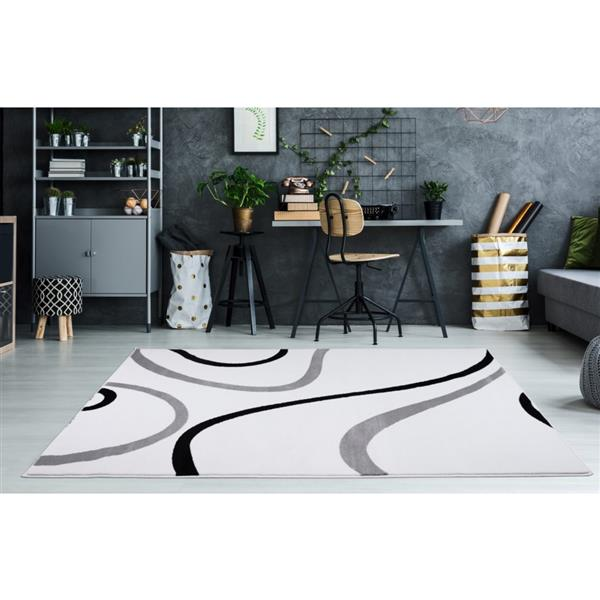 La Dole Rugs® Turkish Rectangular Contemporary Area Rug - 2' x 3' - White