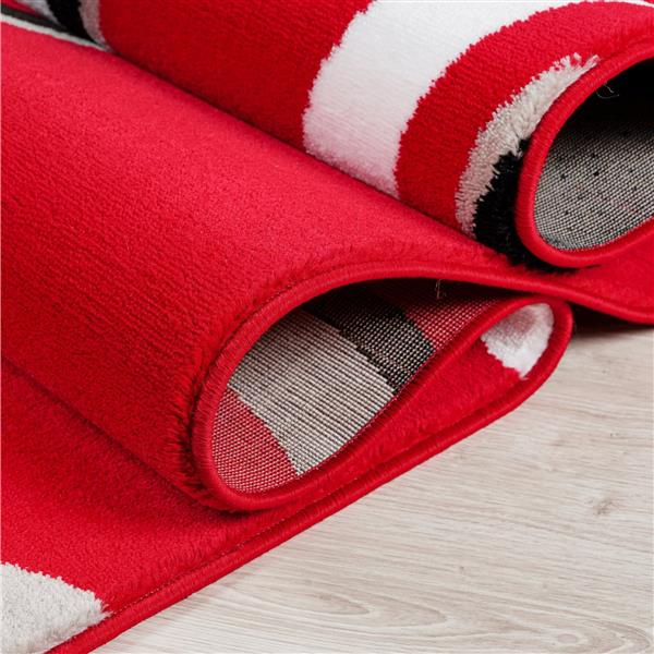 La Dole Rugs®  Calvin Abstract Modern Runner Rug - 3' x 10' - Red/Black