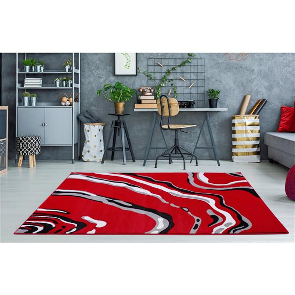 La Dole Rugs®  Calvin Abstract Modern Runner Rug - 3' x 5' - Red/Black