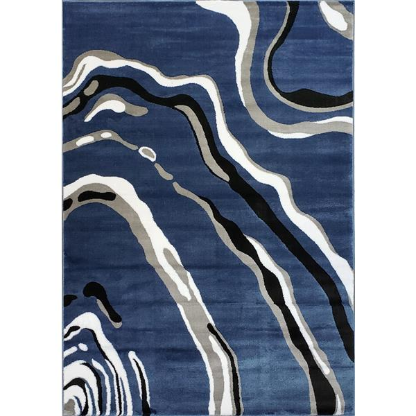 La Dole Rugs®  Calvin Abstract Modern Runner Rug - 3' x 10' - Blue/Grey