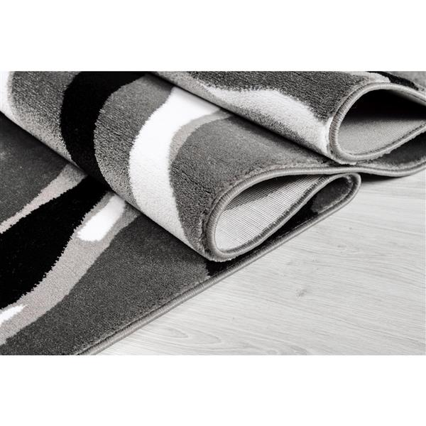 La Dole Rugs®  Calvin Abstract Modern Area Rug - 4' x 6' - Grey/Black
