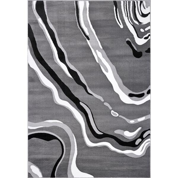 La Dole Rugs®  Calvin Abstract Modern Area Rug - 5' x 8' - Grey/Black