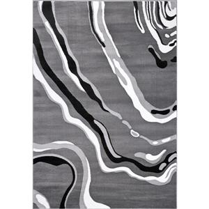 Tapis abstrait moderne «Calvin», 5' x 8', gris/noir