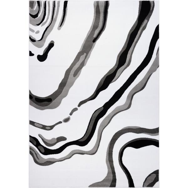 La Dole Rugs®  Calvin Abstract Modern Area Rug - 8' x 11' - White/Black