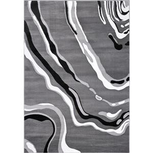 Tapis abstrait contemporain «Calvin», 2' x 3', gris/noir