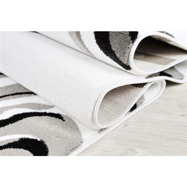 La Dole Rugs®  Calvin Abstract Modern Area Rug - 5' x 8' - White/Black