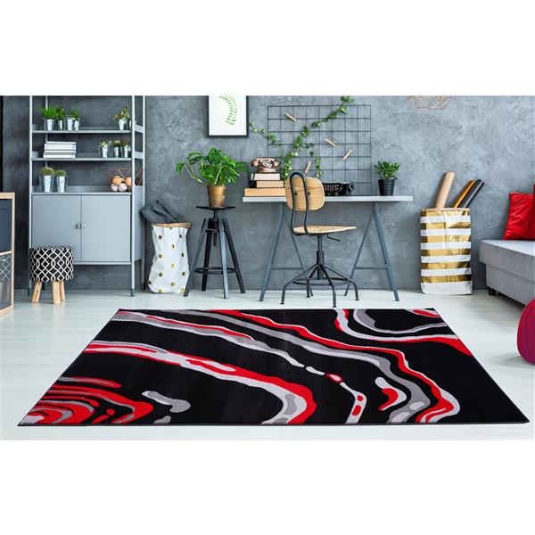 La Dole Rugs®  Calvin Abstract Modern Runner Rug - 3' x 10' - Black/Red