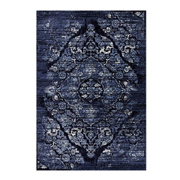 Tapis classique rétro Anatolie, 5' x 7', bleu marine