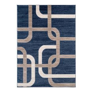 Tapis rétro géométrique Anatolie, 7' x 9', bleu/beige